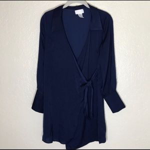 Silky Navy Shirt / Dress